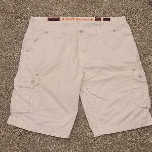 Rock Revival Classic White Cargo Shorts